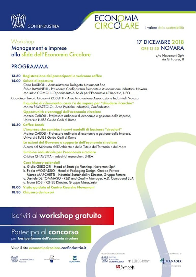 """Ivano Bosi relatore al Workshop """"Management e imprese alla sfida dell'Economia Circolare"""""""