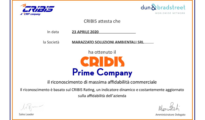CRIBIS PRIME COMPANY: Marazzato tra le imprese più affidabili in Italia
